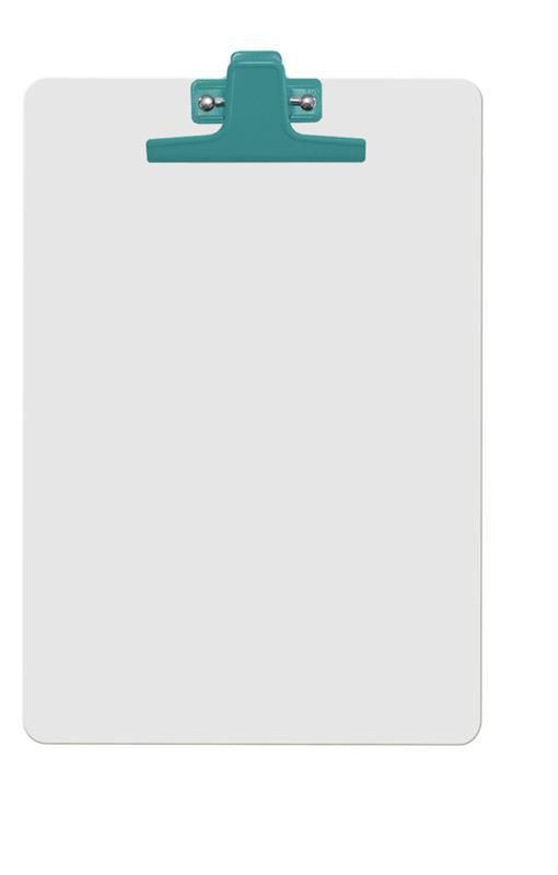 Prancheta Acrimet 126 3  mdf branco com prendedor metalico na cor verde oficio a4