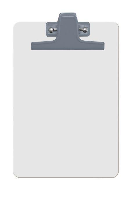Prancheta Acrimet 125 1  mdf branco com prendedor metalico na cor prata meio oficio pequena a5 caixa com 12 unidades