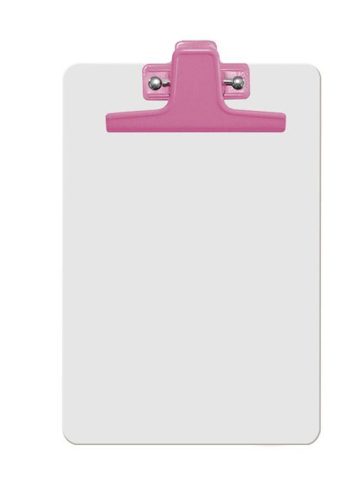 Prancheta Acrimet 125 6  mdf branco com prendedor metalico na cor rosa meio oficio pequena a5