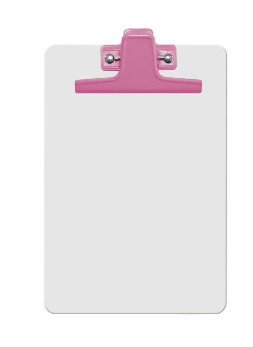 Prancheta Acrimet 125 6  mdf branco com prendedor metalico na cor rosa meio oficio pequena a5 caixa com 12 unidades