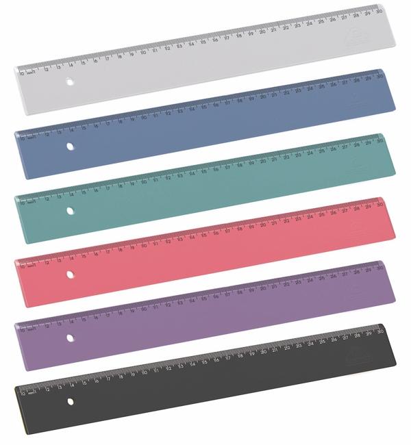 Régua em poliestireno escolar 30cm 963.0 pt com 6 un cores solidas Acrimet