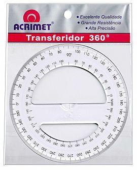 Transferidor Acrimet 552 0 em poliestireno 360º cristal