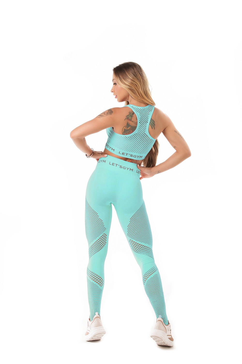 TOP SEAMLESS STYLISH SEM COSTURA TURQUESA LETSGYM