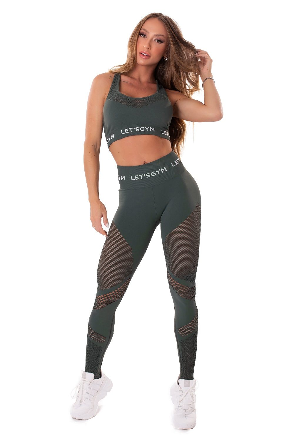 TOP SEAMLESS STYLISH SEM COSTURA VERDE MILITAR LETSGYM