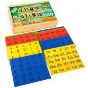 Alfabeto Silábico, 372 peças em E.V.A com K,Y,W,  caixa de madeira