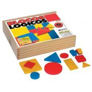 Blocos Lógicos ( 48 pç em madeira – base 7 cm ) cx. madeira