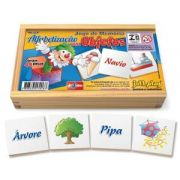 Jogo de Memória Alfabetização com objetos c/ 40pç cx madeira