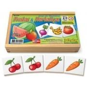 Jogo de Memória Frutas e Hortaliças c/ 40pç cx madeira