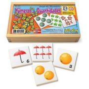 Jogo de Memória Números e quantidades c/ 40pç cx madeira