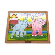 Quebra-Cabeça com Pinos modelo Elefantes com 4 pçs