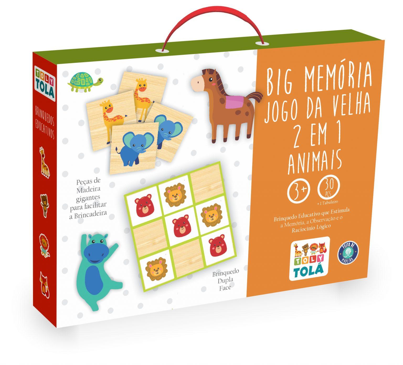 BIG MEMÓRIA / JOGO DA VELHA 2 EM 1 - ANIMAIS