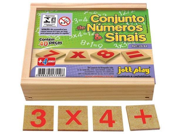 Conjunto de Números e Sinais c/ 40 pç em M.D.F  cx. madeira