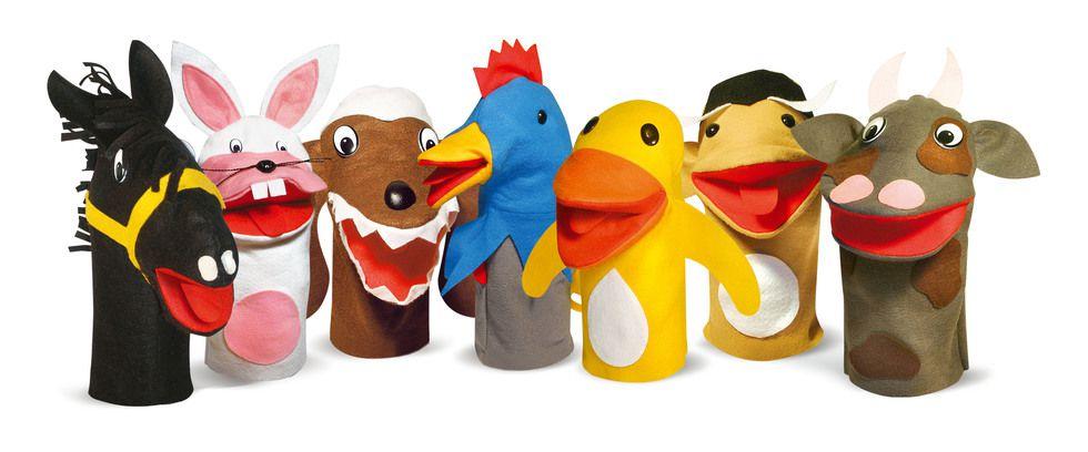 Fantoches de Animais Domésticos  c/ 7 personagens em feltro
