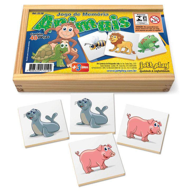 Jogo de Memória Animais c/ 40pç cx madeira