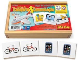 Jogo de Memória Meios de Transportes e Comunicação c/ 40pç cx madeira