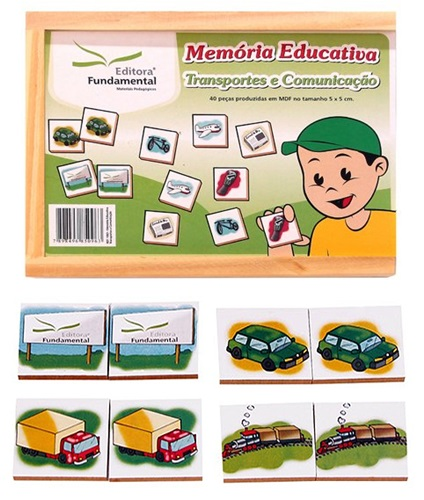 JOGO DE MEMÓRIA TRANSPORTES E COMUNICAÇÃO - 40 PEÇAS EM MADEIRA