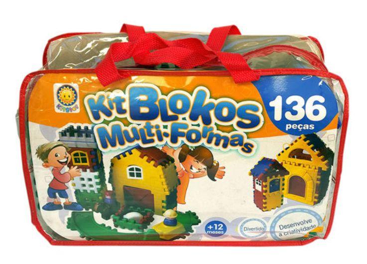 Kit Blocos contendo 136 peças em plástico