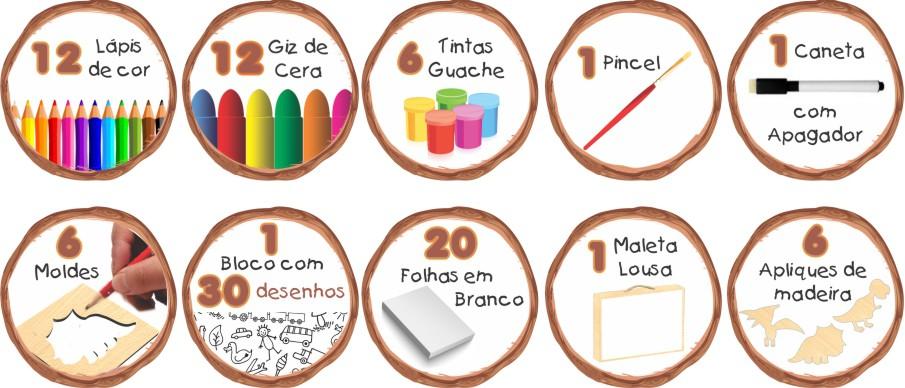 MALETA DO PEQUENO ARTISTA DINOSSAUROS 47 PÇS