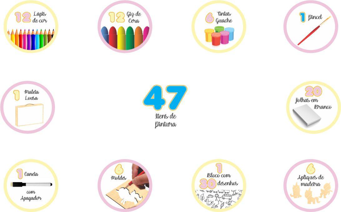 MALETA DO PEQUENO ARTISTA UNICÓRNIO 47 PÇS