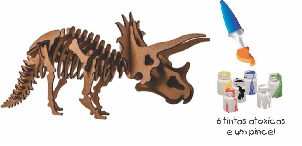QUEBRA CABEÇA 3D TRICERATOPS 17 pçs PINTA E BRINCA
