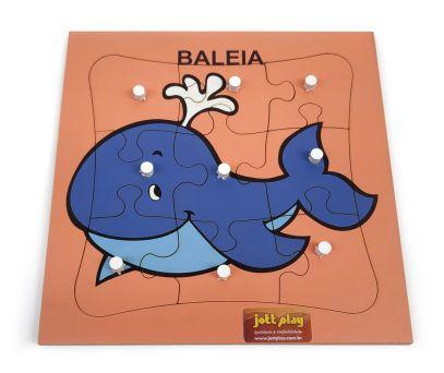 QUEBRA CABEÇA COM PINOS-BALEIA 9 PÇS