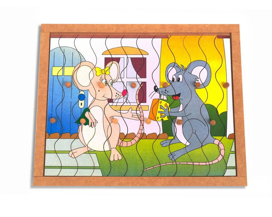Quebra-Cabeça com Pinos modelo Ratos com 12 pçs