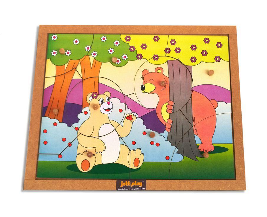 Quebra-Cabeça com Pinos modelo Ursos com 9 pçs