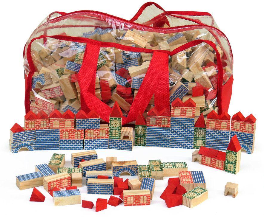 Sacolão Arquiteto com 700 pçs em madeira colorida na mochila