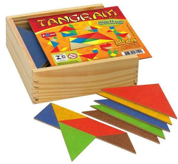 Tangram ( 10 jogos em M.D.F c/ cores diferentes ) 70 pç