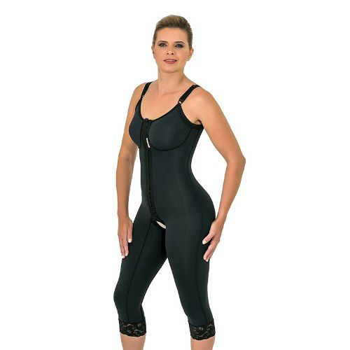 Cinta modeladora cirúrgica Mabella 1070 macaquinho com pernas abaixo do joelho, alça fina, busto pré moldado, abertura frontal