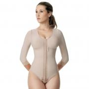 Body modelador cirúrgico compressivo feminino com mangas Modelleskin 84032 Emana para cirurgia nos braços abdômen costas