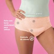 Calcinha absorvente feminina íntima descartável Plenitud Femme, indicada para o pós operatório, cirúrgico, incontinência