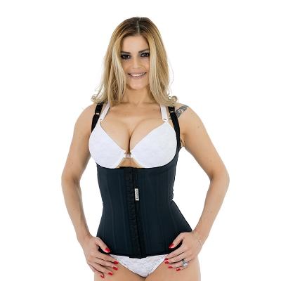 Cinta modeladora compressiva estética Mabella 1280 cinturita corpete com alças corrige a postura e perde medidas na hora