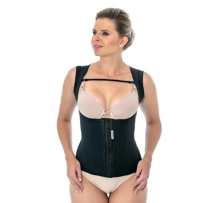 Corretor postural feminino Mabella 1260 c/ reforço costas, alça larga, 8 barbatanas sem busto. Perca medidas com a cinta