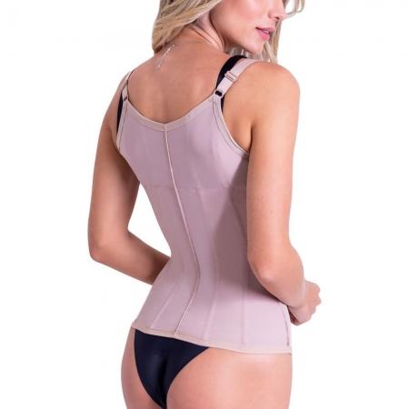Corselet/ Corpete body modeladora feminina estética 8 barbatanas Biobela 1646 Perca medidas na hora e corrija postura
