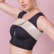 Faixa estabilizadora de prótese mamária Reabilit 8010 em neoprene com tamanho ajustável em velcro, ideal para implante