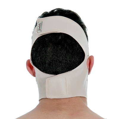Faixa facial cirúrgica compressiva mentoniana Mabella 1181 ideal para cirurgia no mento papada queixo lifting facial
