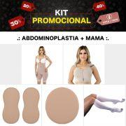 KIT Abdominoplasta + Mama Mabella Pós Cirúrgico Operatório (Cinta + Sutiã + Par de Meia + Placa Abdômen e Flanco)