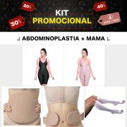 KIT Abdominoplastia + Mama ModelleSkin Pós Cirúrgico Operatório (Cinta + Meia Anti trombo+ Placa Abdômen e Flanco)