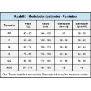 Modelador cirúrgico compressivo com mangas Reabilit 4039 macaquinho tecido cetinete, indicado para diversas cirurgias