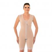 Modelador cirúrgico compressivo macaquinho Mabella 1042 com alça larga ideal para prótese de mama abdômen flancos costas