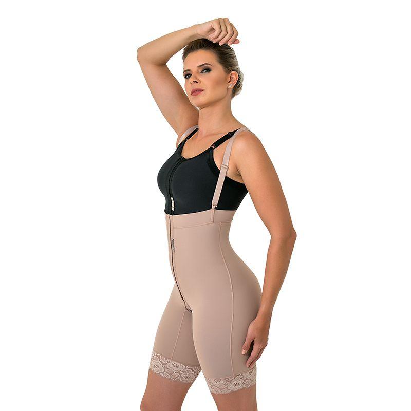 Cinta calção compressiva cirúrgica Mabella 1082 culote cintura alta com perna ½ coxa abertura frontal