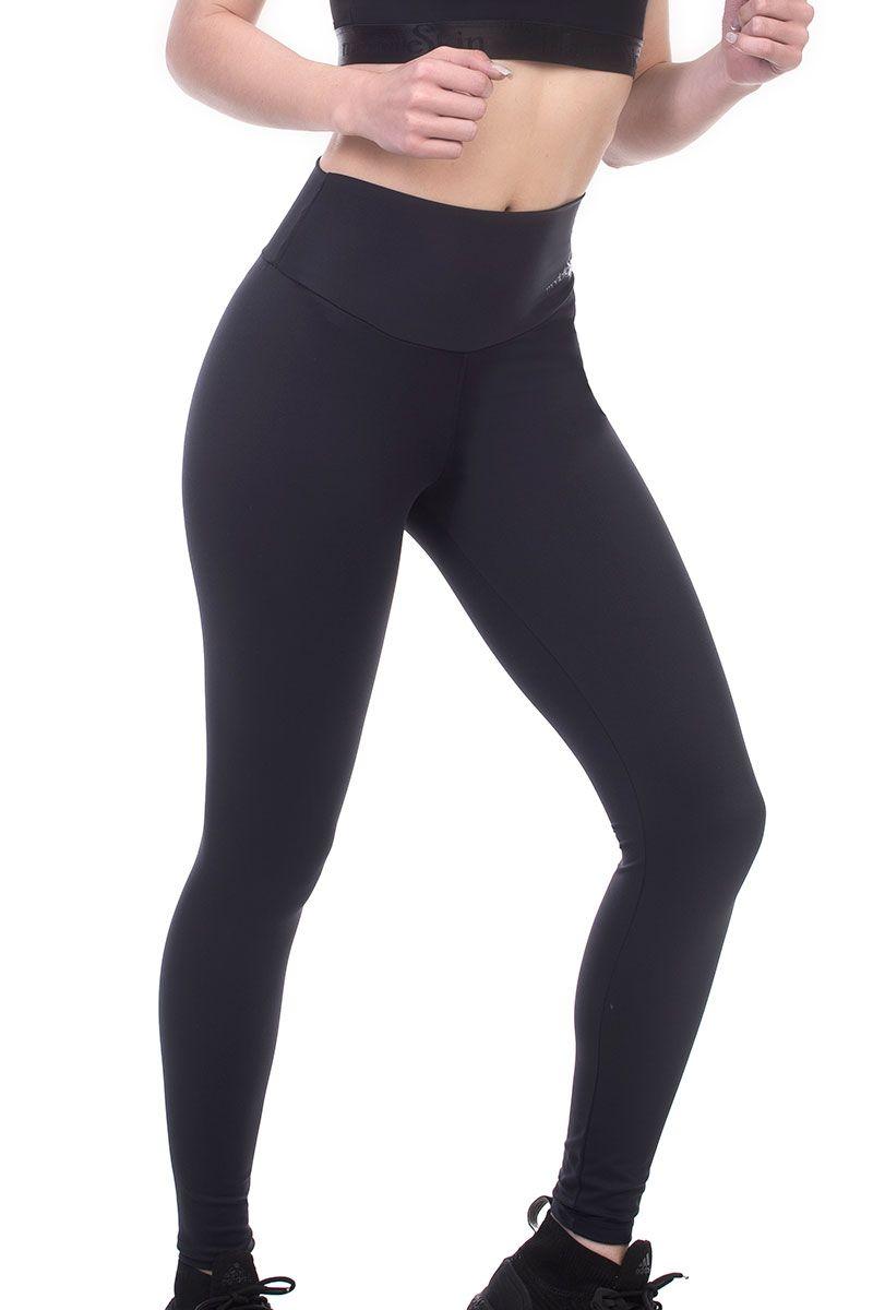 Calça legging feminina longa preta ModelleSkin Sports 8000 fitness e casual tecido Emana compressivo moderado  - Cinta se Nova