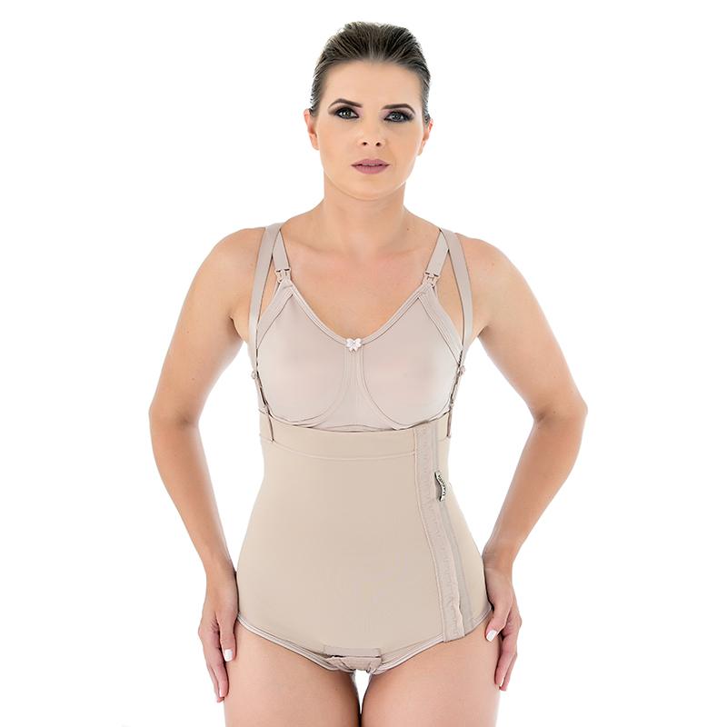 Cinta calcinha compressiva Mabella 1001 de cos alto, abertura lateral