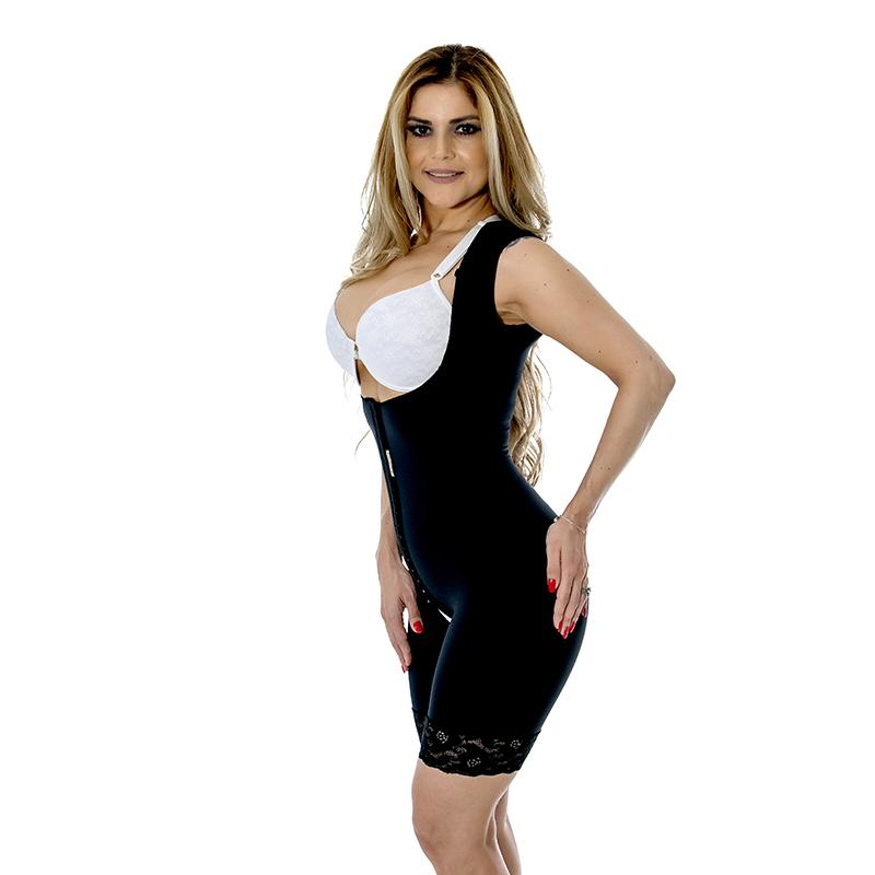 Cinta modeladora cirúrgica Mabella 1023 macaquinho, sem busto, abertura frontal, pernas 1/2 coxa e alça larga.  - Cinta se Nova