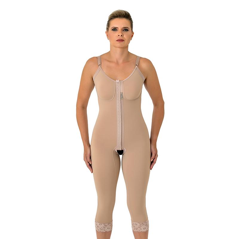 Cinta modeladora cirúrgica Mabella 1070 macaquinho com pernas abaixo do joelho, alça fina, busto pré moldado, abertura f  - Cinta se Nova