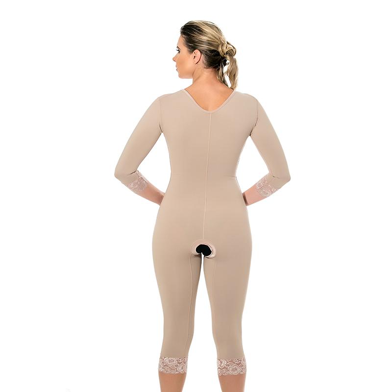 Cinta modeladora cirúrgica Mabella 1074 c/ busto, pernas abaixo do joelho, abertura frontal, com mangas