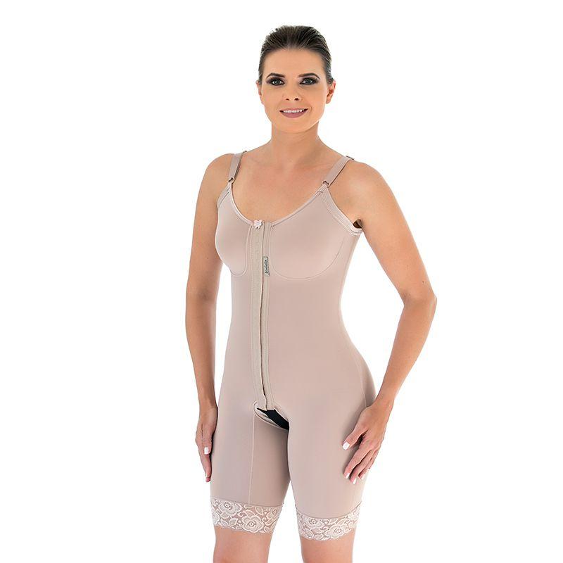 Cinta modeladora cirúrgica Mabella 1040 macaquinho com busto, pernas meia coxa abertura frontal, alça fina