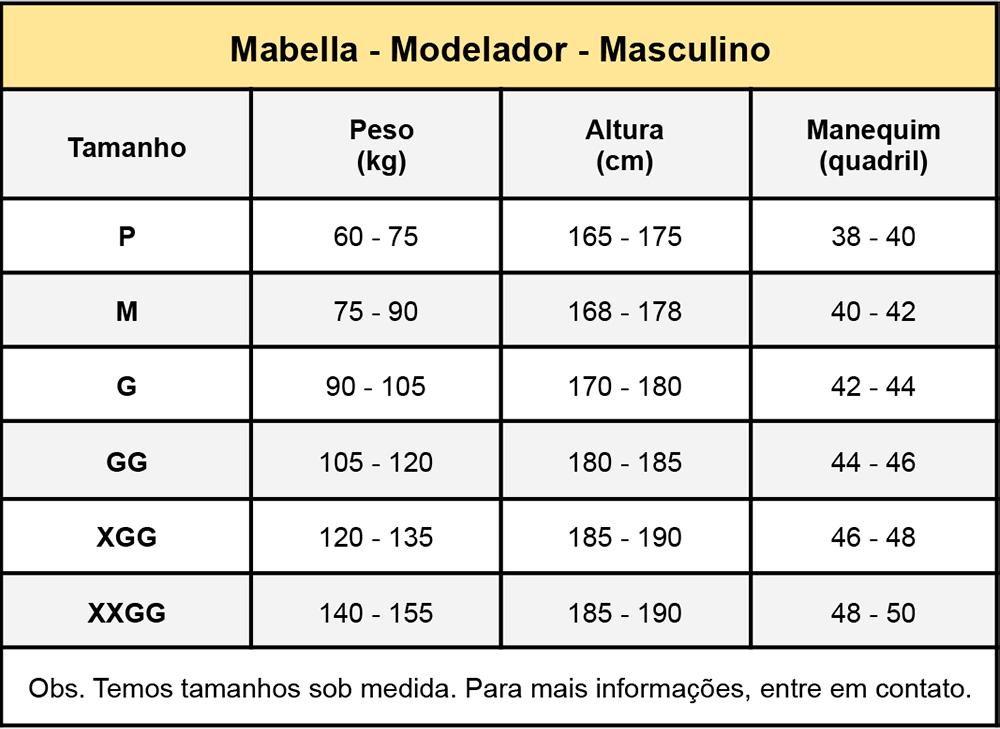 Cinta modeladora Masculina Mabella 1194 estilo regata, abertura frontal com regulagem colchete  - Cinta se Nova