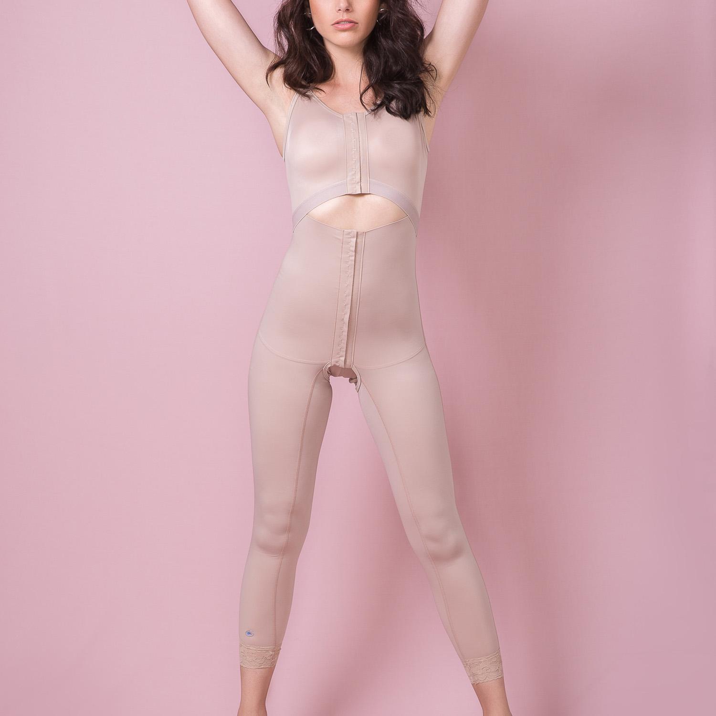 Cinta modeladora Reabilit 4032 longa com abertura frontal, alça larga no tecido cetinete lipo corpo inteiro  - Cinta se Nova